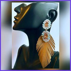 🏷 🆕 Noir Palm Leaf Jeweled Gold Earrings